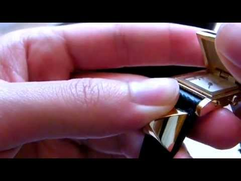Hermès Medor watch montre blue plaqué or gold plated 1996 (Z)