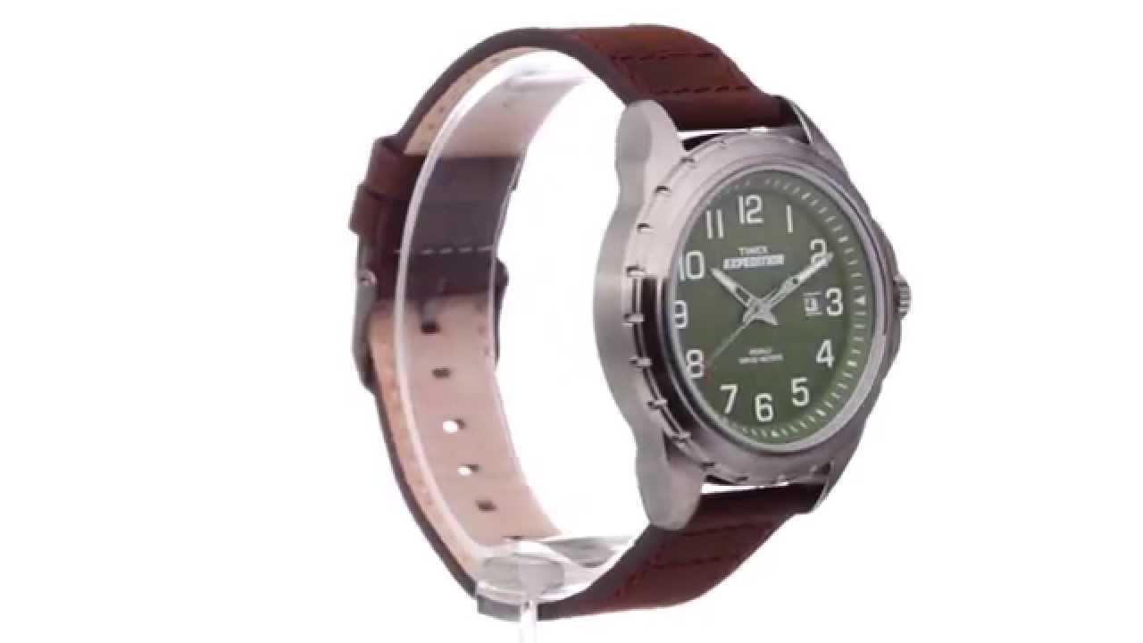 Rugged Metal Field Leather Strap Watch