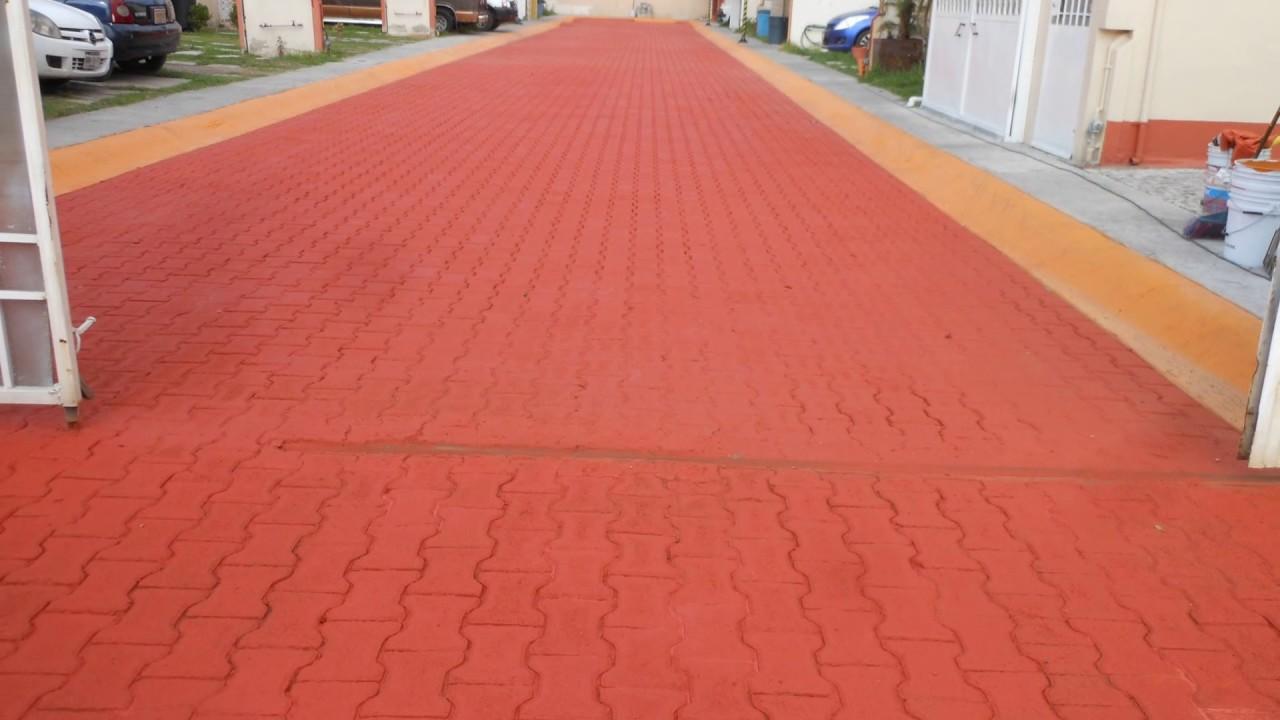 Esmalte 100 rojo oxido sobre adoquin terminado youtube - Jardines con adoquin ...
