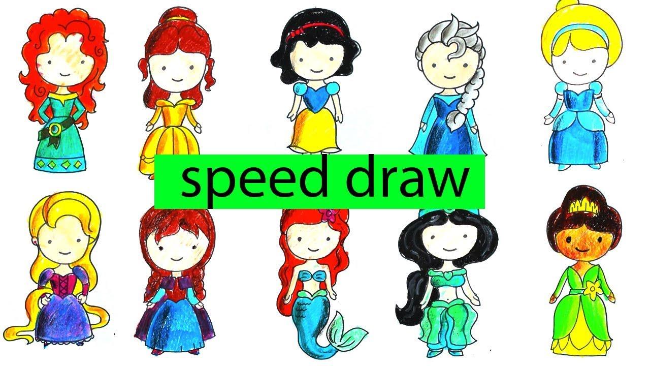 How To Draw All Disney Princess Speed Draw Youtube