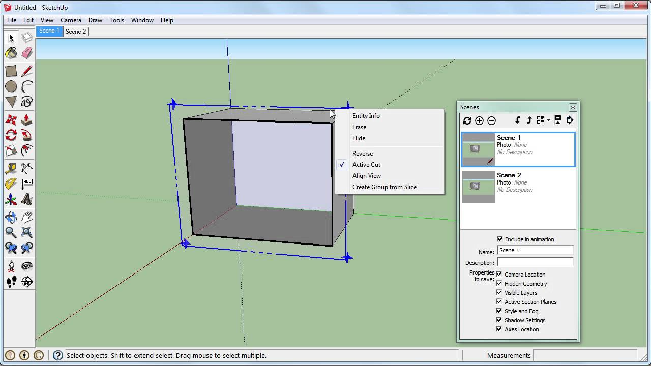 SketchUp: Section Planes Cut View and Scenes