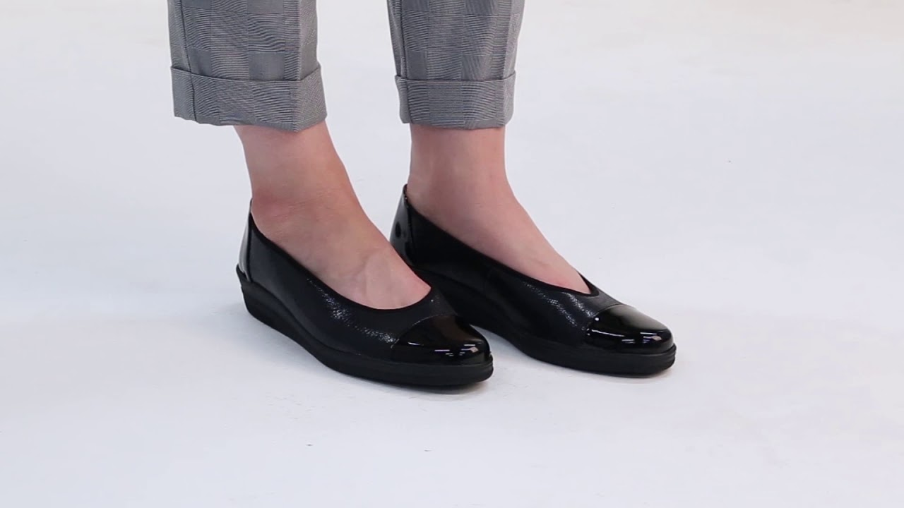 15f9881431f Gabor Petunia Black Print Wide Fit Leather Ballerina Pumps - YouTube