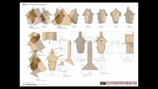 """BH _ Bird House Plans Construction - Bird House Design ... BH100 Units: Inches - fractions Oversize: 8 3/4"""" x 11 1/8"""" x 1"""