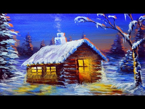 Acrylic Landscape Painting during Winter Night Sunset with House |  BASIC PAINTING TUTORIAL BEGINNER