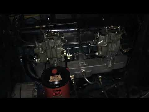 Chevy 235 dual Rochester mono jet carbs and Fenton exhaust. First start up