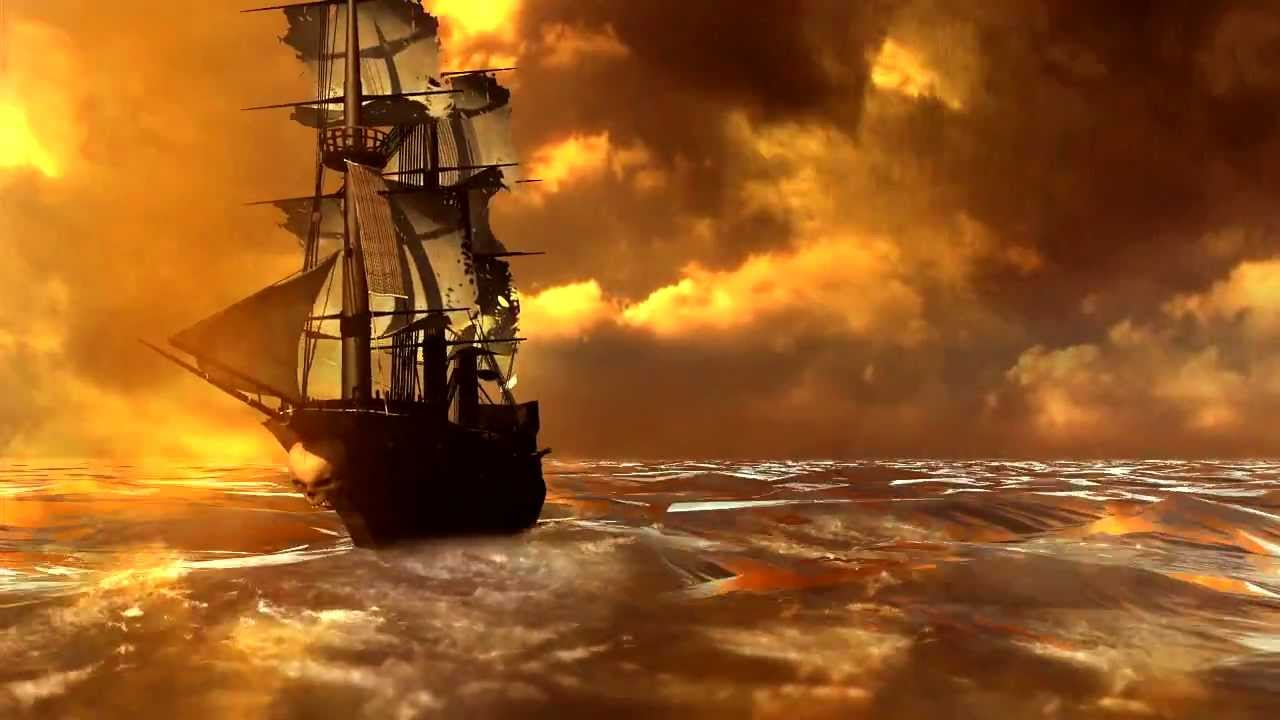 pirate ship on stormy sea youtube