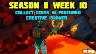Fortnite - COLLECTING COINS IN CREATIVE FEATURED ISLAND SEASON 8 - OVERTIME CHALLENGE BATTLE ROYALE