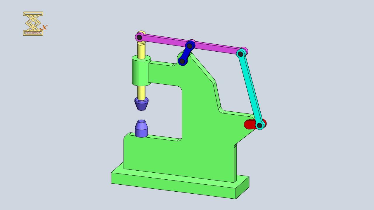 Vertical Lever Press : Six bar slider crank power hammer mechanism youtube