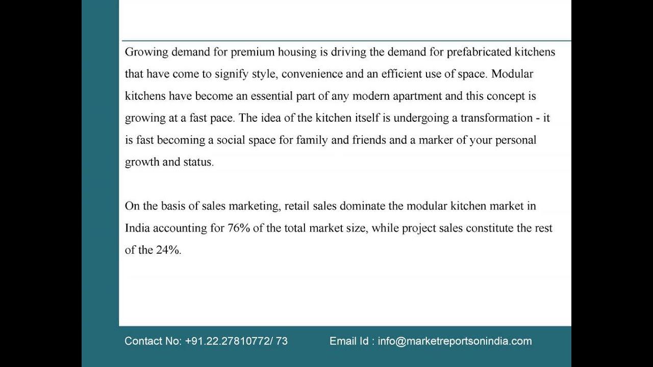 Modular kitchen concepts design creation manufacturing kukatpally - Industry Report On India Modular Kitchen Market 2015