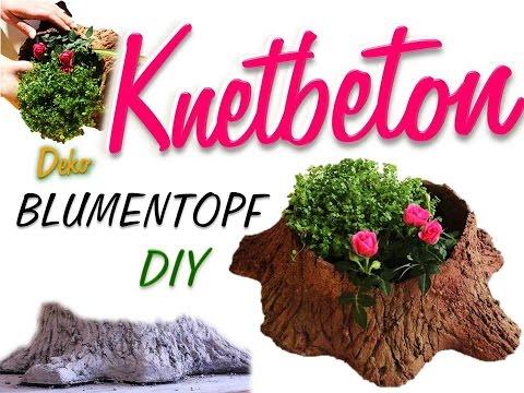 Diy blumentopf aus knetbeton beton deko baumstumpf for Bastelideen blumentopf