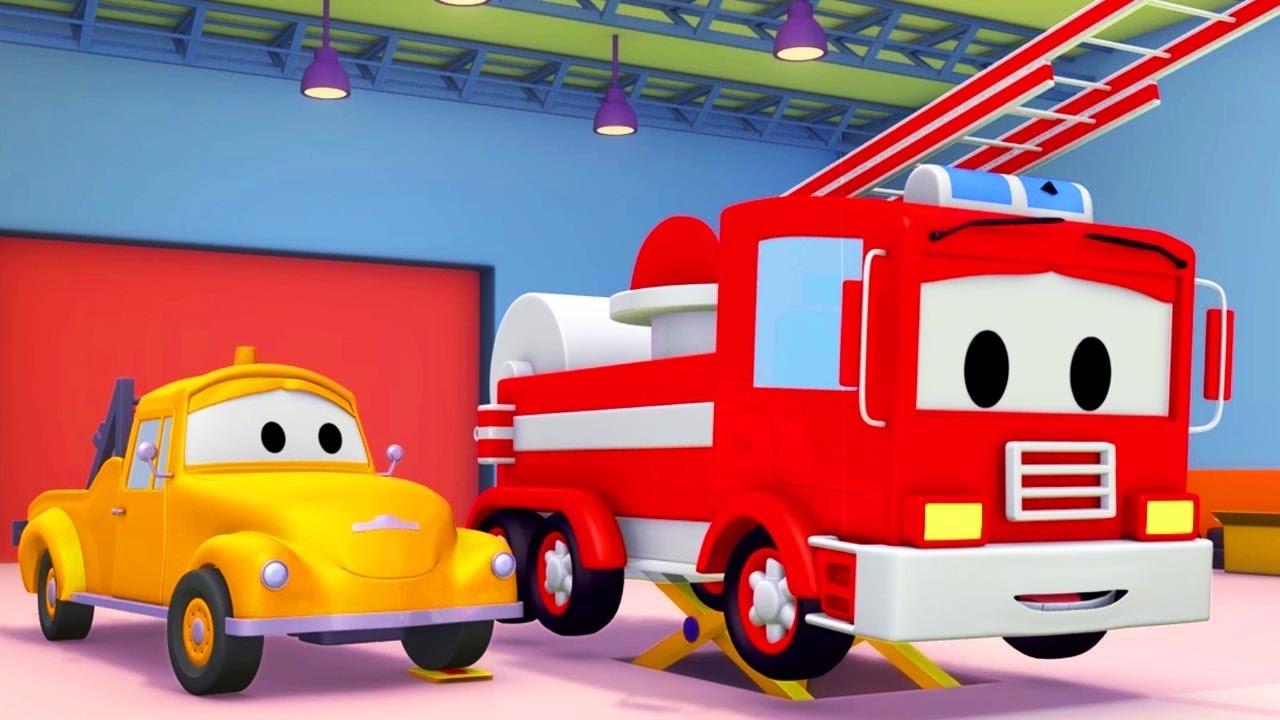 Tom Si Truk Derek Dan Si Truk Pemadam Di Kota Mobil Kartun Mobil Dan Truk Youtube
