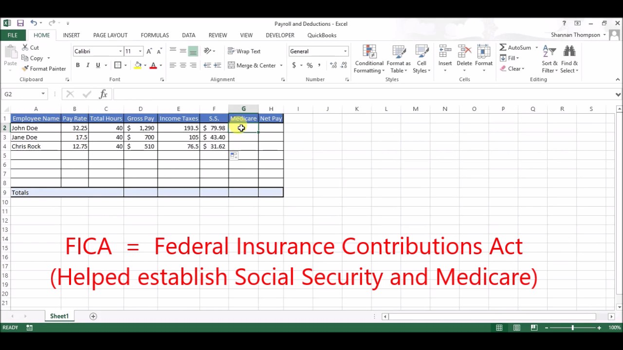setting up payroll  deductions in excel