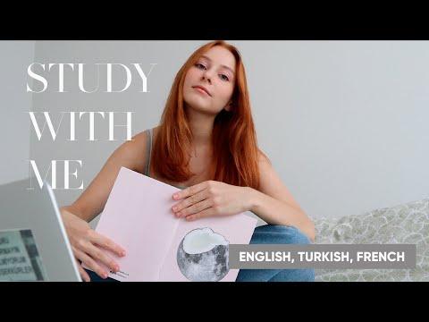 УЧИСЬ СО МНОЙ | 3 ЯЗЫКА | 🇺🇸🇹🇷🇫🇷 | STUDY WITH ME