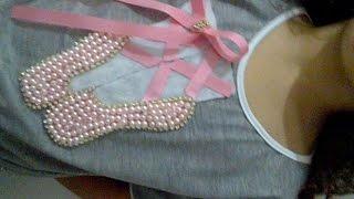 DIY: customizando estampa personalizada sapatilha de bailarina, em blusa