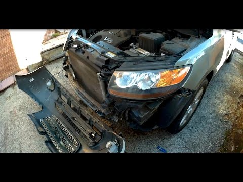How to remove install front bumper cover Hyundai Santa Fe