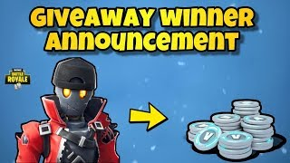 Fortnite GIVEAWAY WINNER ANNOUNCED! Fortnite Battle Royale - (FREE VBUCKS)