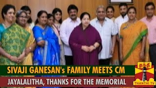 Sivaji Ganesan's Family Meets Chief Minister Jayalalithaa, Thanks for the Memorial spl tamil hot video news 01-09-2015 Thanthi TV