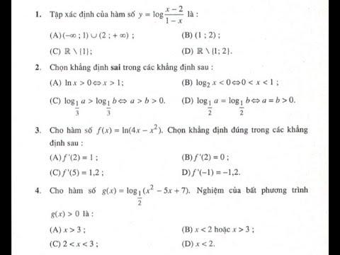 Giải bài tập trắc nghiệm chương 2 trang 91 sgk Giải Tích 12 (Toán 12 - Ôn tập chương 2)