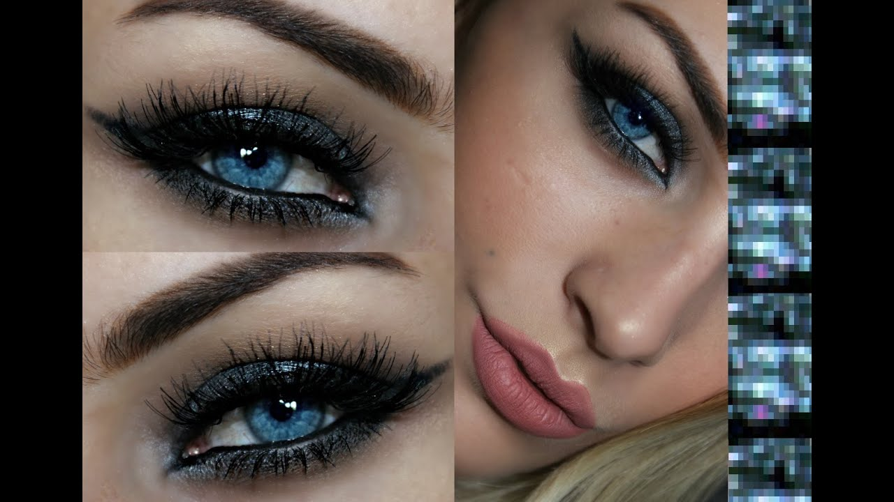 eyeshadow for blue eyes and dark brown hair - wavy haircut