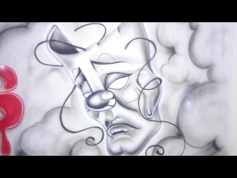 Casmurros Aerografia Mascara De Teatro Timelapse Youtube
