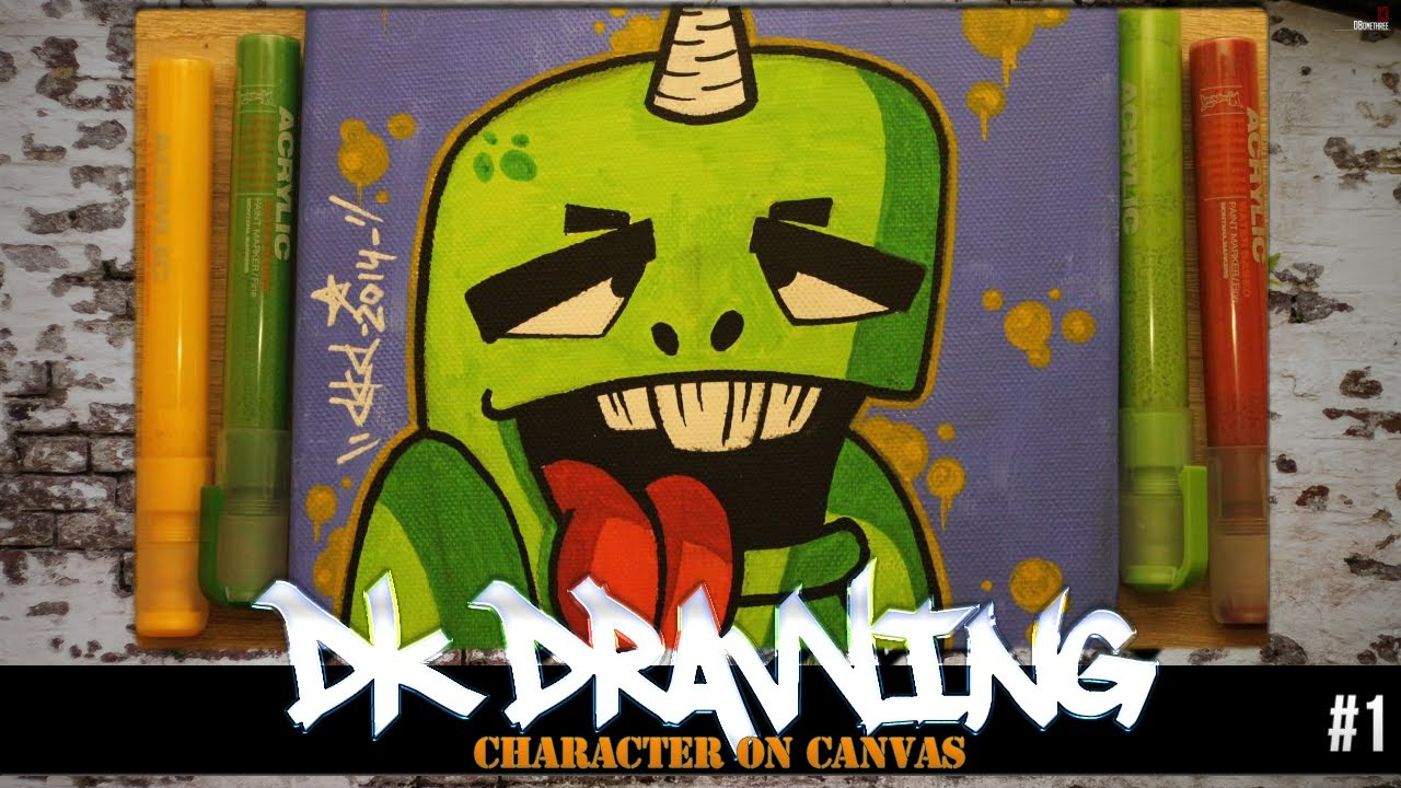 How To Draw A Graffiti Character On Canvas 1 YouTube