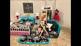 Barbie Bedroom Routine!! Evening BATH! Cake! New Pajamas!