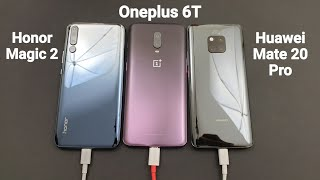 30 Minutes Fast Charging Speed Test Challenge - Honor Magic 2 Vs Oneplus 6t Vs Huawei Mate 20 Pro