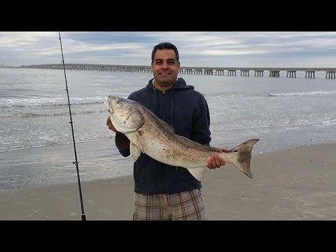 Surf fishing 36 red fish at san luis pass galveston for San luis pass fishing