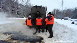 Зимний ремонт дороги в Липецке