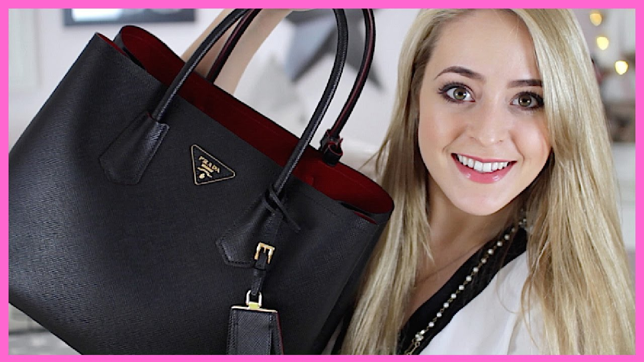 prada top designer handbags - What's in my Bag?! (+Prada 'Double Bag' Review!) - YouTube