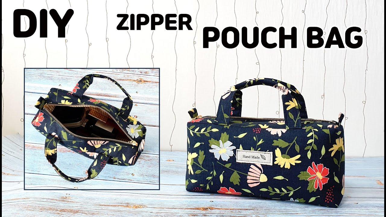 DIY Zipper Pouch with Handle / make a makeup bag / sewing tutorial [Tendersmile Handmade]