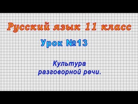 Русский язык 11 класс (Урок№13 - Культура разговорной речи.)
