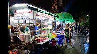 [4K] 2019 Night walking from BTS Sala Daeng station to Silom street food, Bangkok