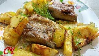 Свиные Ребрышки,Запеченные в Духовке с Картошечкой! Очень  Вкусно!!!