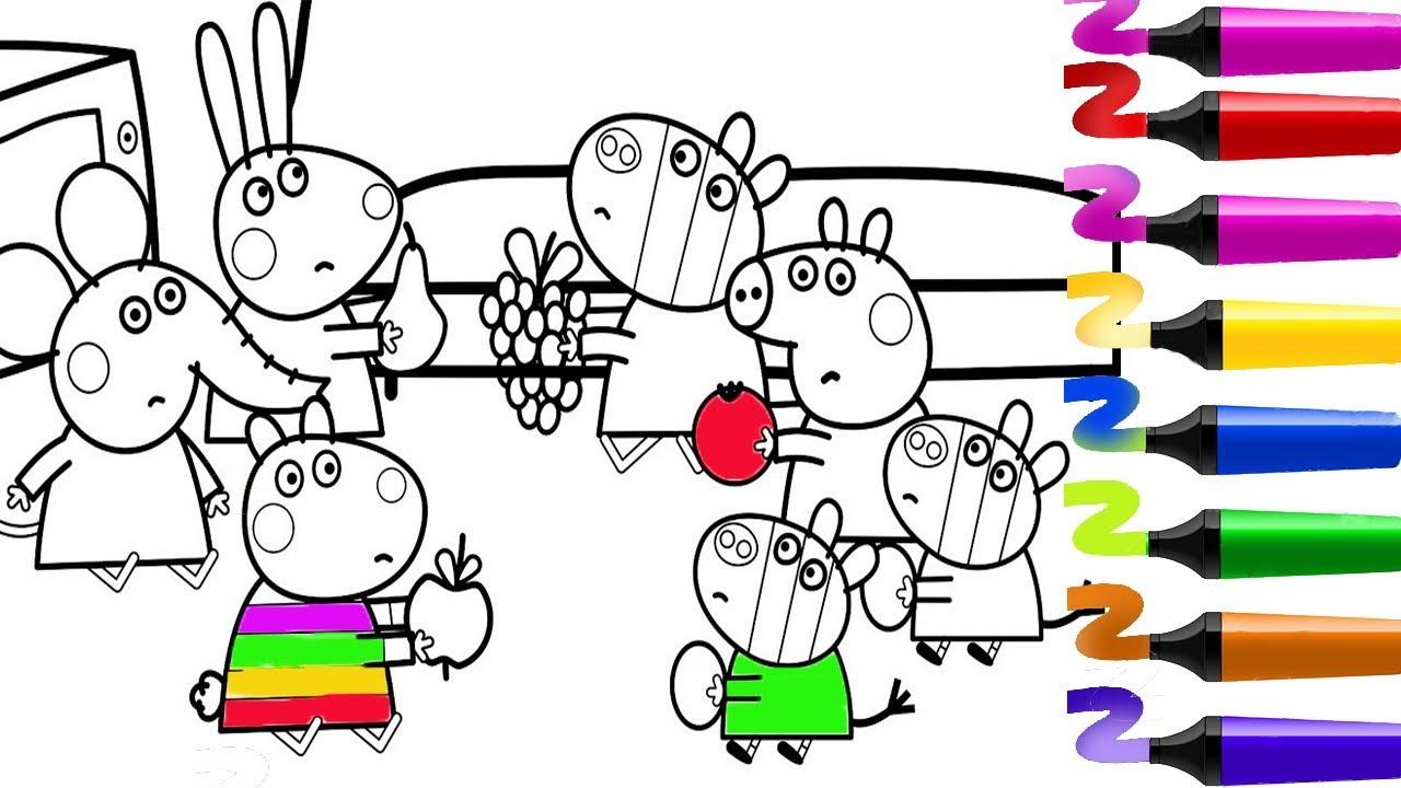 Peppapigfrancais Coloriage Peppa Pig Coloriage Peppa Pig Jeu Avec Ses Amis Coloriage