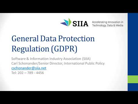 SIIA Policy Webinar:  New EU Data Privacy Regulations for 2018