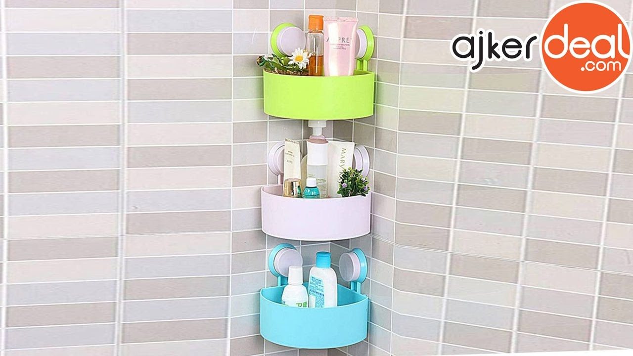triangle-shaped bathroom corner shelf | bathroom shelf - YouTube