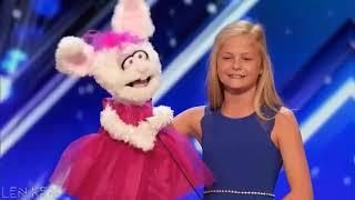 """America's Got Talent Vietsub 2017   Cô bé """"hát không mở miệng"""" gây kinh ngạc nhận được nút Vàng"""