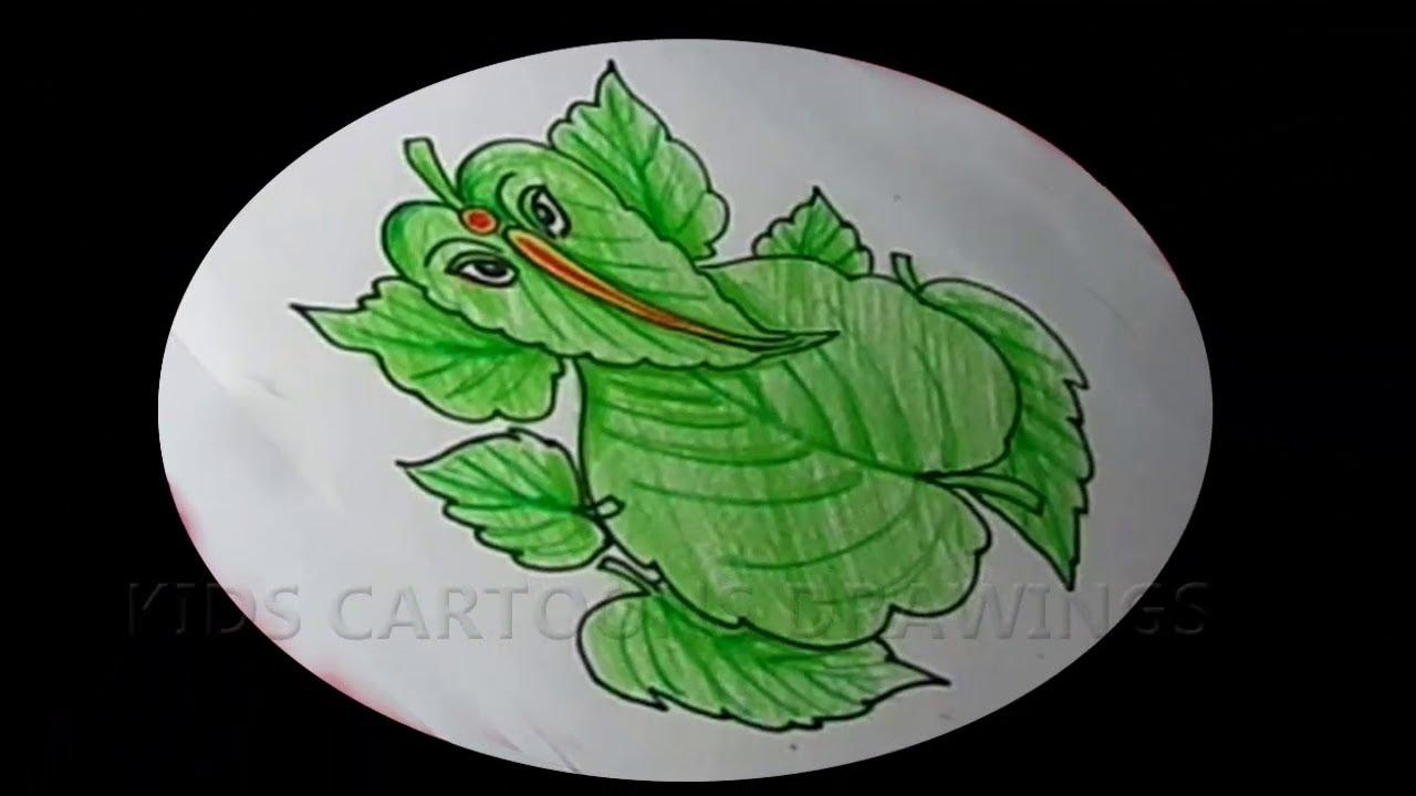 How To Draw Leaf Ganesha Drawing Ganesh Chathurthi 2020 Special Drawing Ganapathi Bappa Drawing Youtube