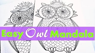 How To Draw A Owl Mandala For Beginners - Part 1