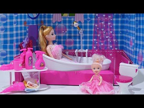 รีวิว บาร์บี้ Barbie ของตกแต่ง บ้านบาร์บี้ ห้องอาบน้ำ  ของเล่น น้องวีว่า พี่วาวาวby Wow Sister Toy