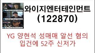와이지엔터테인먼트 122870 YG 양현석 성매매 알선 협의 입건에 52주 신저가 향후 대응 방법은?
