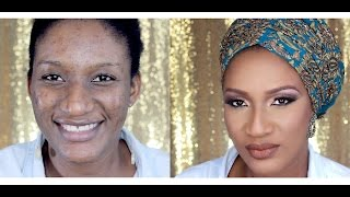 client makeup transformation   ebele in eid special glitter cut crease