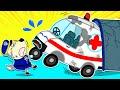 سيارة إسعاف إنقاذ الذئب الصغير من عالقة في النفق - يلعب الأطفال بسيارات الألعاب   Wolfoo Arabic