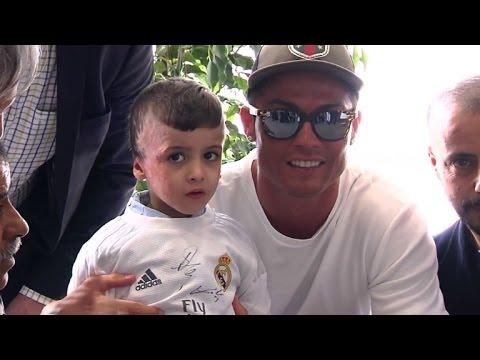 Palestinian firebomb survivor meets hero Ronaldo