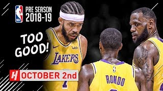 LeBron James, Rajon Rondo & JaVale McGee Full Highlights vs Nuggets 2018.10.02 - TOO GOOD!
