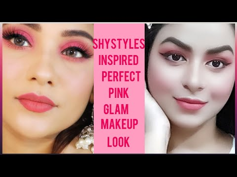inspired-makeup-look-by-shystyles-||-perfect-pink-glam-||-pink-monotone-look-||-zohrastyles-lookbook