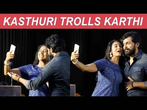NO SIVAKUMAR - So Selfie with Karthi - Kasthuri Fun on Stage
