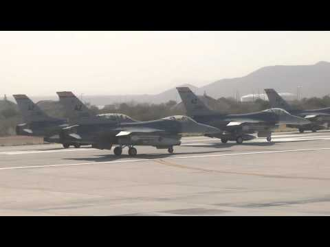 F-16 Fighters Interupt Our Flight