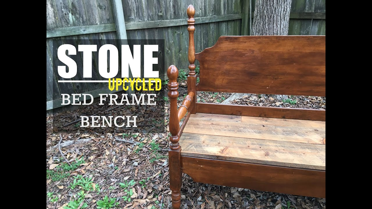 Build a Bench from an Old Bed Frame - Wood version - YouTube